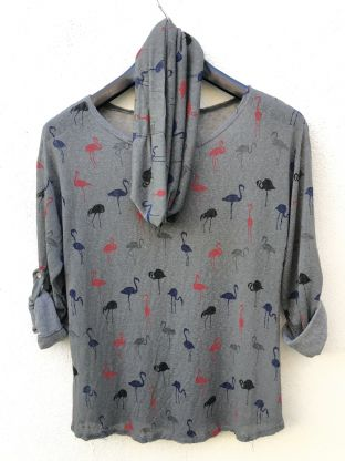 Womens LV Long Sleeve Round Neck Flamingo Print Grey Italian Top - One Size